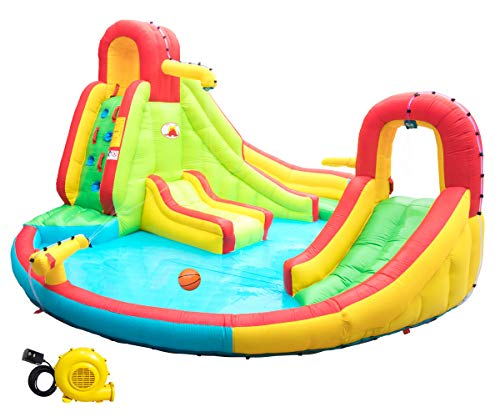 WELLFUNTIME Heavy Inflatable Water Slide Park, Double Slide Climbing Wall Fountain for Outdoors, Equipped with Air Blower (The Best Water Slides)