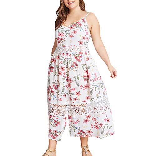 (Qingell Dress Women V-Neck Plus Size Dress Floral Print Camisole Ruffled Dress Ladies Holiday Beach Maxi Dress White)