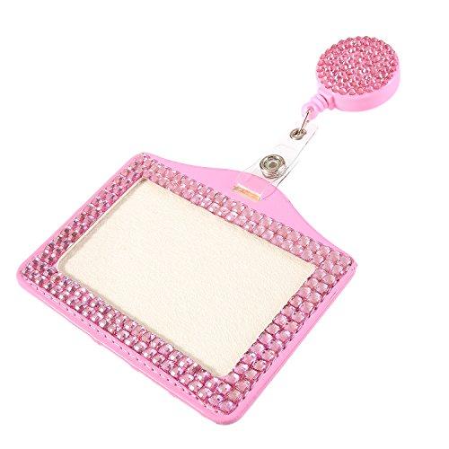 Purely Handmade Fashion Baby Pink Bling Crystal Lanyard Cute Rhinestone Badge Reel + Horizontal Card Holder for Business Id Card (Healthcare Id Holder)