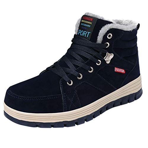 AIMTOPPY Winter Men's High-Top Plus Velvet Warm Lace Casual Suede Tooling Shoes