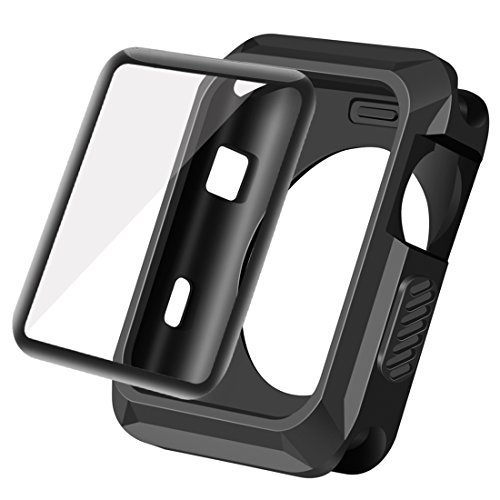 Wolait Compatible with Apple Watch Case 42mm,Rugged Protective Case + Tempered Glass Screen Protector for Series 3,Series2,Series1 (Black)