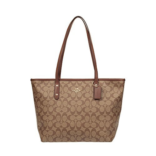 Coach Signature City Zip Tote IM/Khaki/Saddle (Signature Saddle)