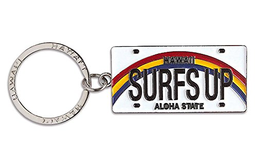 Welcome to the Islands Hawaiiana Keychain Metal License Plate Surf's Up