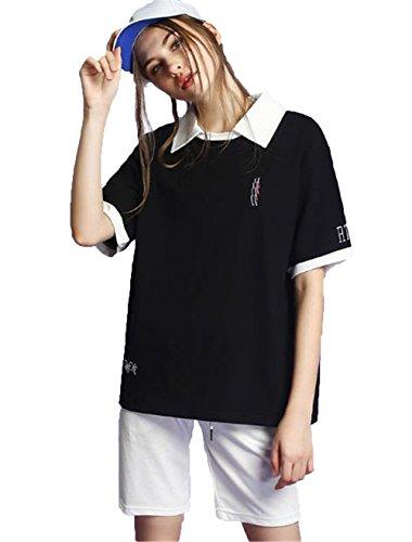 JIANGWEI 男女兼用 ポロシャツ レディース 刺繍 半袖 Tシャツ ゴルフウェア コットン ファッション 2色