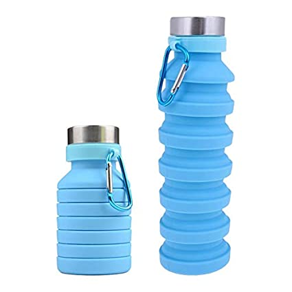 FDA Approved Portable Blue Collapsible Silicone Water Bottle-550 ML//18.6 OZ