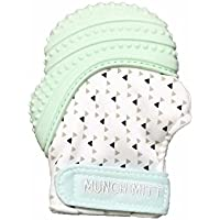 Munch Mitt Pastels Specialty Collection- Original Silicone Teether Mitten- Like Teething Toys or Teething Ring Provides Self-Soothing Fun- Ideal Baby Shower Gift with Handy Travel Bag - Mint Green