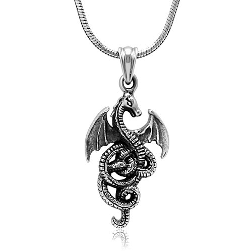 Detailed Dragon - Chuvora 925 Sterling Silver Detailed Medieval Dragon Luck Wisdom and Longevity Pendant Necklace, 18 inches