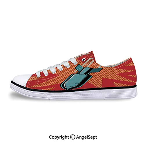 Sneakers for Ladies Bomb Destructive Nuclear Attack Destroying Low Top Canvas S