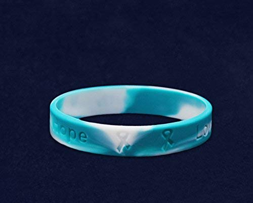 Fundraising For A Cause 50 Pack Teal & White Awareness Silicone Bracelets (Wholesale Pack - 50 Bracelets) by Fundraising For A Cause (Image #3)
