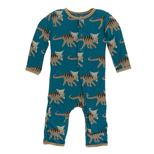 Kickee Pants Little Boys Print Coverall with Snaps - Heritage Blue Kosmoceratops, 9-12 Months