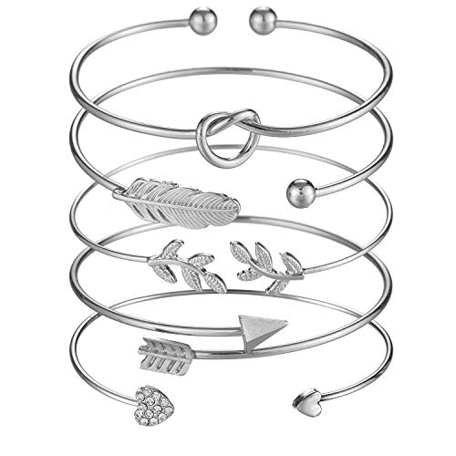 Bangle Heart Silver Open - Softones 5pcs Bangle Silver Bracelets for Women Girls Heart|Olive Leaf|Arrow|Feather|Knot Heart Open Cuff Bracelet Set Adjustable
