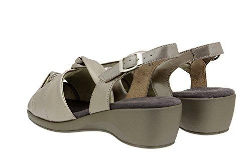 Calzado mujer confort de piel Piesanto 4581 sandalia cuña zapato cómodo ancho Titanio