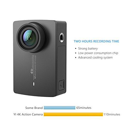 "YI 4K Action Camera, 4K/30fps Video 2h Recording Time with 2.2"" Touch Retina Screen Sony IMX377 Image Sensor Live Sports Camera 40 Meters Waterproof Camera (Waterproof Case Not Included)"