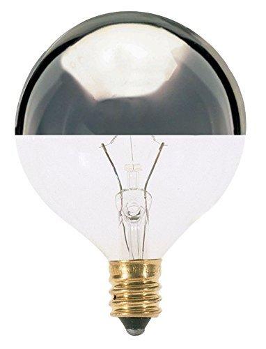Satco 40G16 1/2/SL Incandescent Globe Light, 40W E12 G16 1/2, Silver Crown Bulb [Pack of 12]