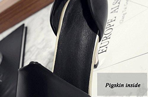 talon Couleur hauts Confortable et Printemps taille été Noir cuir Véritable Noir HJHY® pointu épais talons Chaussures 38 pour femmes CPW6f1n1O
