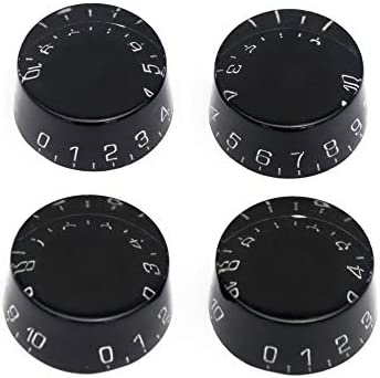 Kmise Electric Guitar Speed Control Knobs Knob for Gibson Les Paul LP Guitar Parts Replaceemnt Black /& White Number 4pcs