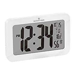 Marathon Commercial Grade Panoramic Atomic Wall Clock with Table Stand, Date, and Temperature - Self Setting/Self Adjusting - Batteries Included - CL030033WH (White)
