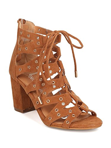 Heart.thentic Women Faux Suede Peep Toe Lace Up Grommet Chunky Heel Sandal GC33 - Tan (Size: 6.5)