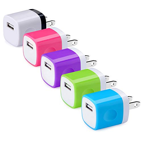 USB Wall Charger, Hootek USB Plug 5Pack 1A/5V Wall Charger Brick Adapter Charging Block Compatible with Phone XS MAX/XS/X/8/7/6 Plus, Samsung Galaxy S10 S9 S8 S7 S6, LG, HTC, Sony, ()