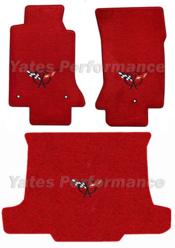 (1998-2004 Corvette Convertible Red Floor & Trunk Mats - Black Crossed Flags Logo)