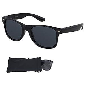 Wayfarer Sunglasses - Smoked Lenses with Black Plastic Frames - UV Ray Protected Shades For Men & Women - By Optix 55