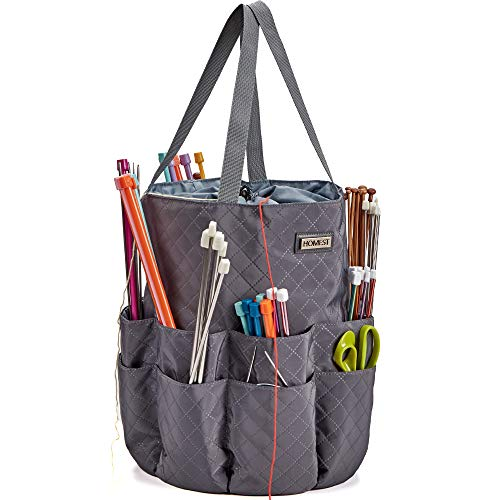 HOMEST XL Yarn Storage Tote, These Large Craft Supplies Organizer Bag Have 16 Pockets for Knitting Needles and Crochet Hooks, Grey