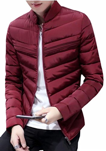 Coat Mens Collar Wine Warm UK Red Jacket Down Stand Slim Outwear Fit Winter today 0wSan5qzSx