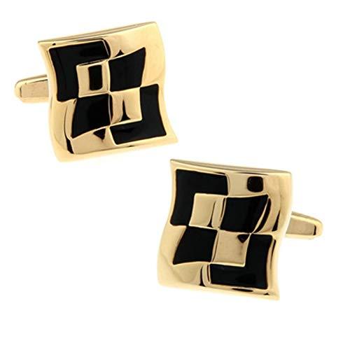 ANAZOZ Cuffllinks for Men, Geometric Gold Black Cufflinks Shirt Studs Business Wedding Gifts