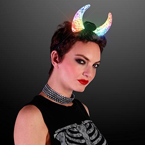 Light Up Devil Horns - Color Change LED Devil Horn Head
