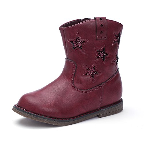 BTDREAM Toddler Girl's Zipper Winter Snow Ankle Boots Waterproof Outdoor Walking Flat Shoes Wine Red Size 27
