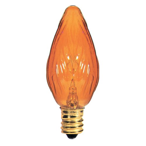 Incandescent Chandelier Amber (Bulbrite 15F10A 15W Fiesta Style Chandelier Bulb, Candelabra Base, Amber)