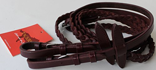 TackRus Horse English Padded Leather Braided Contest Show Rein Red Brown 8031020MG