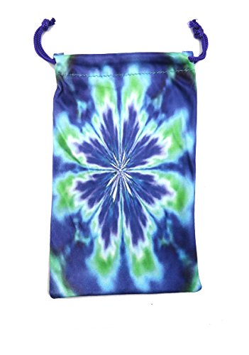 MyEyeglassCase Tie Dye Microfiber Drawstring pouches for Sunglasses Eyeglasses Mobile Cell Phones - Pack of 3 TieDye Design + 2 Black - Storage Bag and Cleaner for Glasses- (D2 Tie - Dye Tie Sunglasses