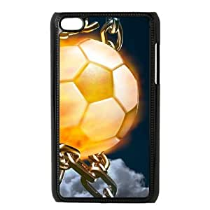 DIY Protective Snap-on Hard Back Case Cover for iPod Touch 4 with Fire Football Soccer ball