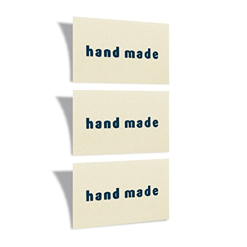 Woven Craft Labels - Wunderlabel Cotton Label Handmade Crafting Craft Art Fashion Woven Ribbon Ribbons Tag for Clothing Sewing Sew on Clothes Garment Fabric Material Embroidered Tags, Dark Blue on Cream, 50 Labels