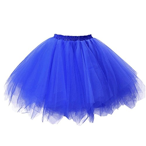 DYS Women's 1950s Knee Length Petticoat Slips Tulle Ballet Bubble Tutu Skirt Royalblue S/M