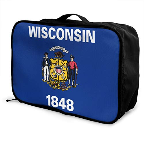 Portable Luggage Duffel Bag Wisconsin Flag Travel Bags Carry-on In Trolley Handle