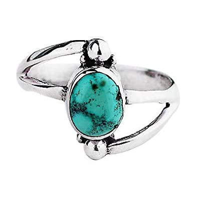 Buy 925 Sterling Silver Turquoise Ring Size 9 5 Us 3 76 G Fashion