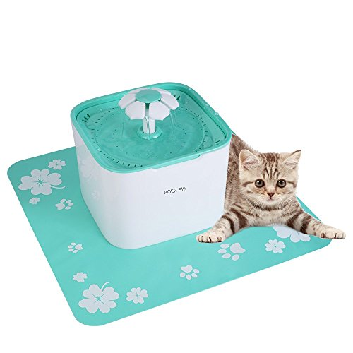 Moer Sky Pet Fountain Cat Water Dispenser-Healthy Hygienic Drinking Fountain 2L Super Quiet Automatic Water Bowl Filter Silicone Mat Dogs - Cats - Birds Small Animals (Pet Fountain)