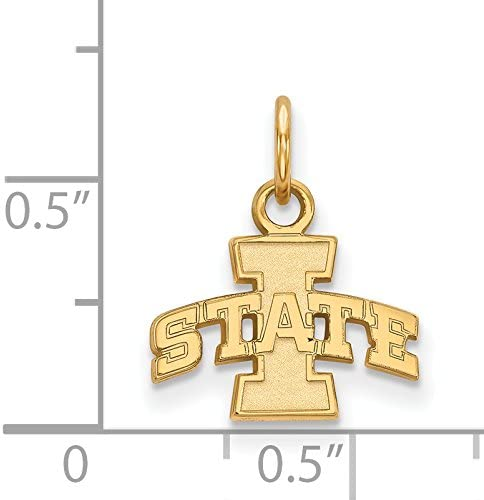 Iowa State University Cyclones School Letters Logo Pendant Gold Plated Silver 10x13mm