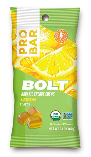 PROBAR – BOLT Organic Energy Chews – Lemon – USDA Organic, Gluten-Free, Superfruit Blend, 20mg Caffeine from Yerba Mate, Electrolytes and B-Vitamins – Pack of 12