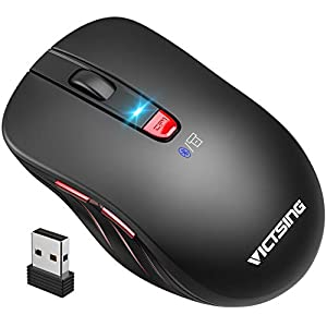 VicTsing Bluetooth Mouse 【Upgraded】, Portable Ergonomic Wireless Mouse, Bluetooth 4.0 & USB Supported, Easy-Switch up to…