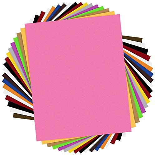 HTV Heat Transfer Vinyl Bundle: 18 Pack 12x10 Sheets for Iron On T-Shirts- 13 Assorted Colors Clothing Heavy Duty Vinyl for Silhouette Cameo,Cricut or Heat Press Machine Tool-Teflon Sheet Included