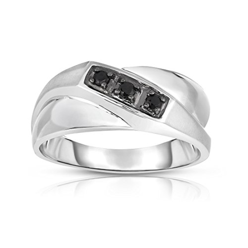 Noray Designs 14K White Gold Black Diamond (0.18 Ct, I1-I2 Clarity, Black Color) Men's 3-Stone Ring by Noray Designs