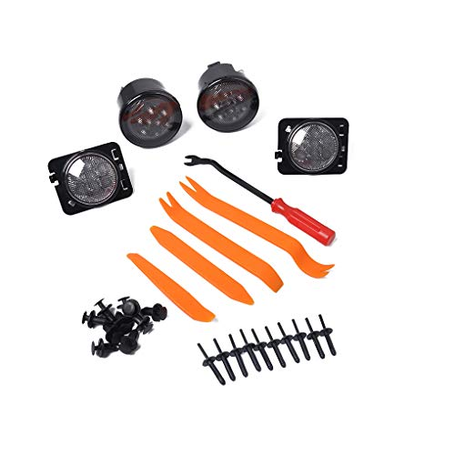 (Replacement for Jeep Wrangler LED Front Fender Flare Lamp + Turn Signal Side Marker Light Set)