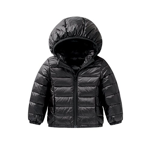 Price comparison product image Baby Boys Girls Lightweight Down Jacket Kids Winter Packable Hoodie Coats 110 Black