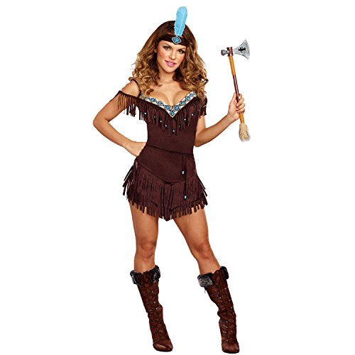 Dreamgirl Women's Tribal Princess, Brown, (Adult Pocahontas Halloween Costumes)