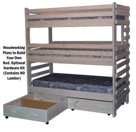 Triple Bunk Extra-Tall Woodworking Plans