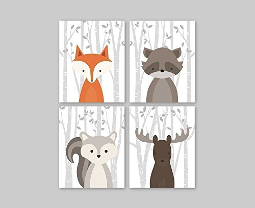 Set of 4 Woodland Animals Nursery Decor Wall Art Prints, Baby Animal Portraits - Fox, Raccoon, Squirrel, Moose. Choose Size for Paper Print or Canvas - Moose Portrait