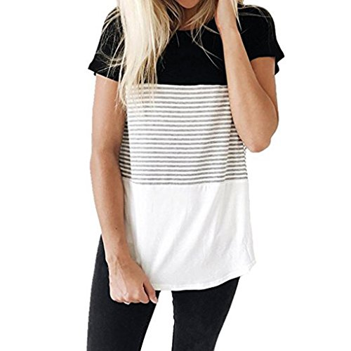 TOTOD Women Short O-Neck Sleeve Triple Color Block Stripe T-Shirt Casual Blouse (S, Black)